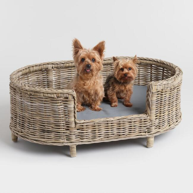 Oval Gray Rattan Rufus Pet Bed With Legs