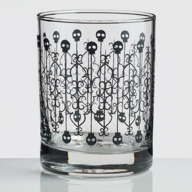 Halloween Skull Gate Double Old Fashioned Glasses Set Of 4