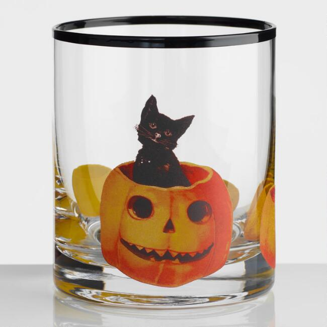Vintage Halloween Double Old Fashioned Glasses Set Of 2