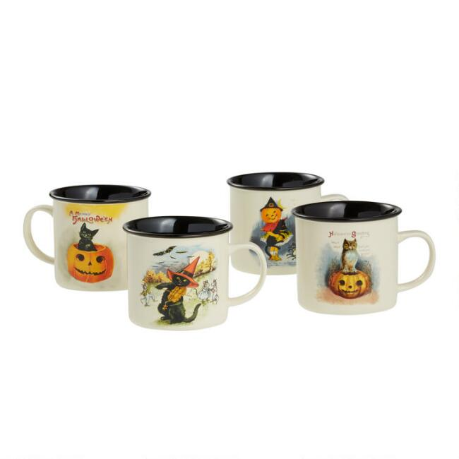 Vintage Ceramic Halloween Mugs Set Of 4