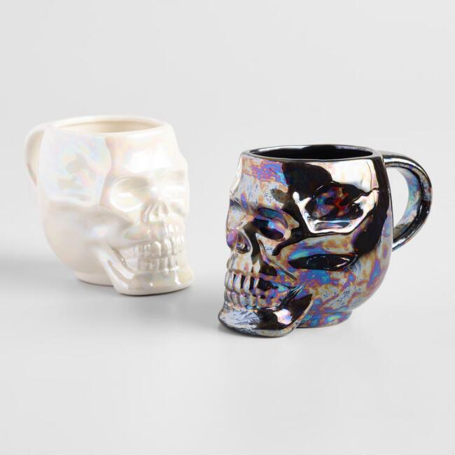 Black and White Iridescent Skeleton Mugs Set Of 2