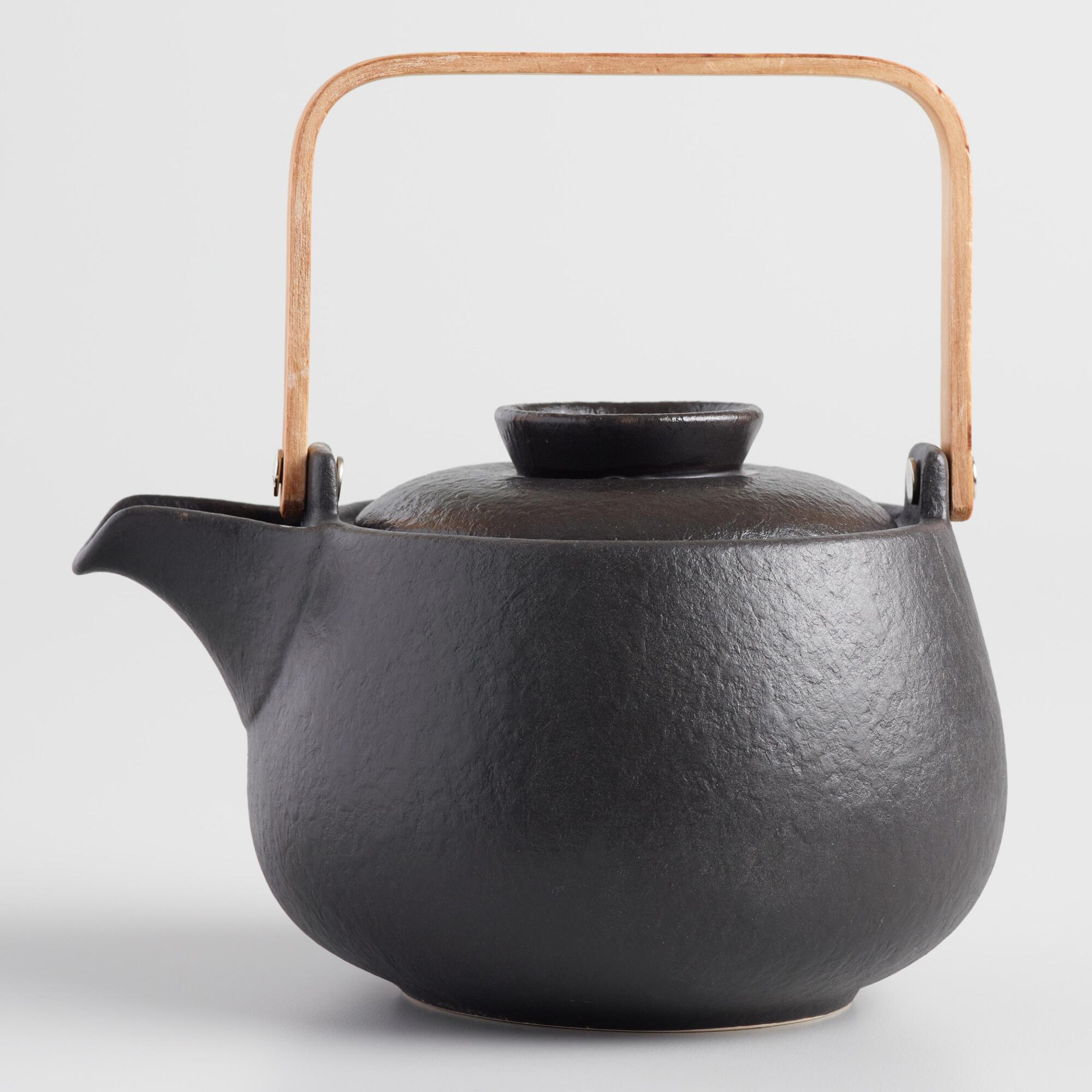 Black Pebbled Faux Cast Iron Teapot by World Market