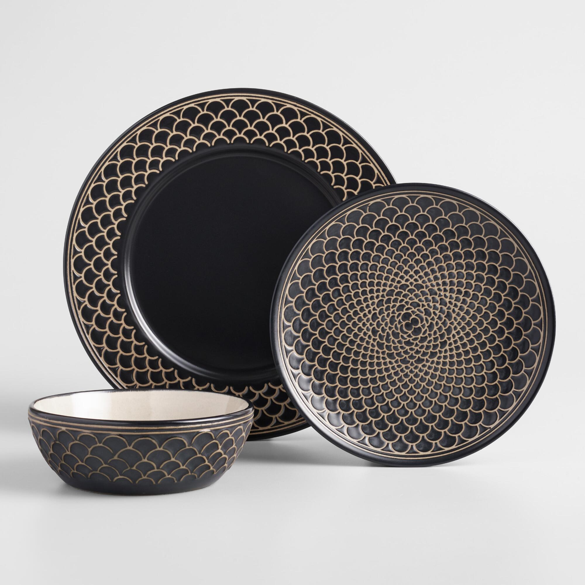 Black And White Textured Chloe Dinnerware Collection by World Market