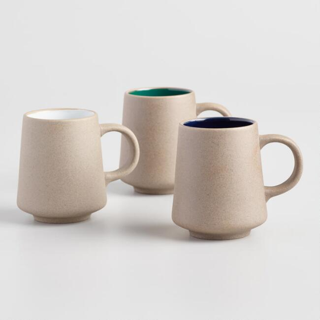 Natural Clay Mugs Set Of 3