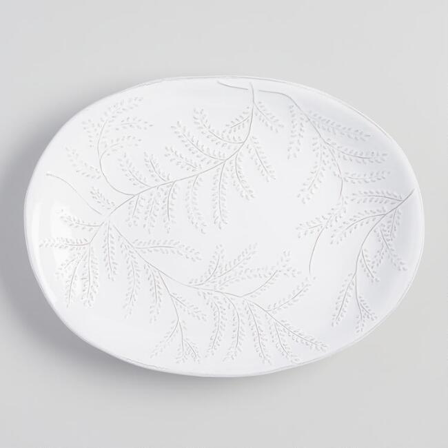 White Embossed Leaf Fiore Serving Platter