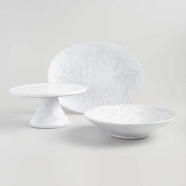 White Embossed Leaf Fiore Serveware Collection