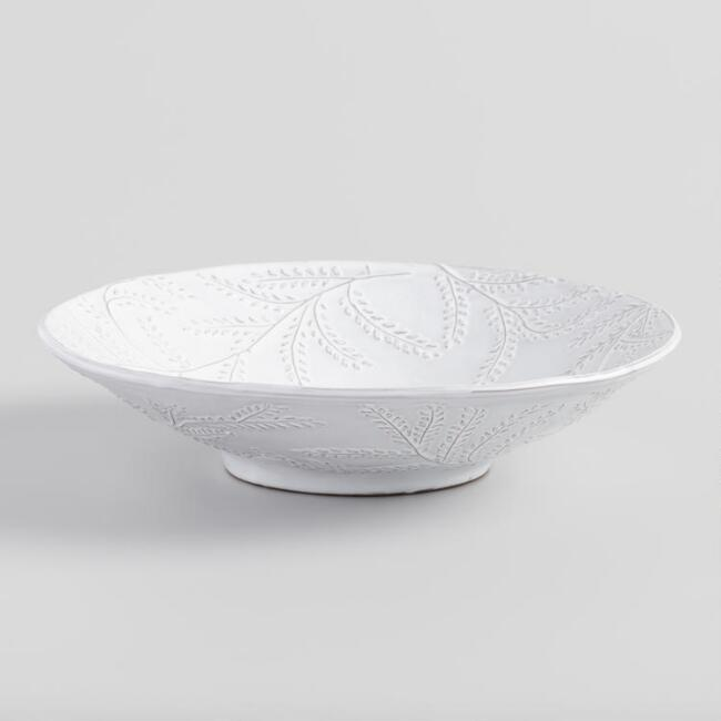 White Embossed Leaf Fiore Serving Bowl