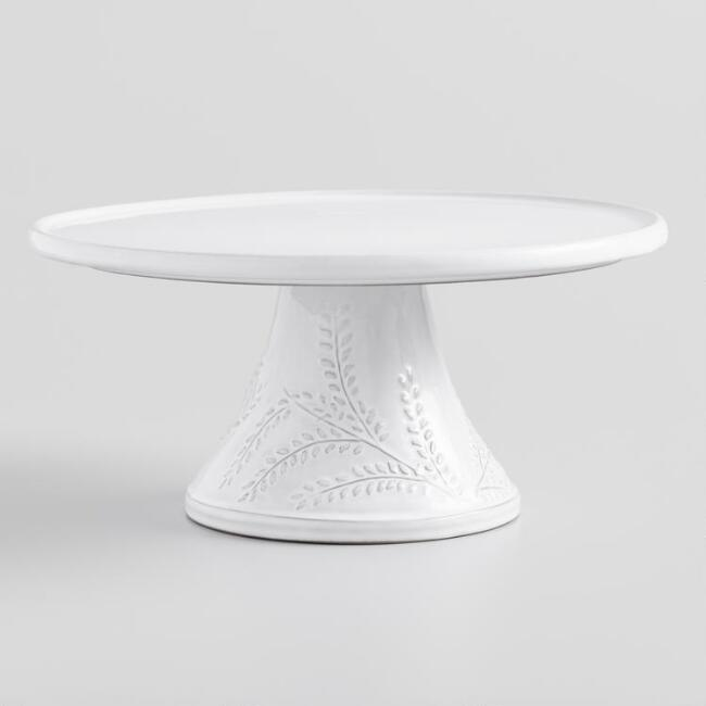 White Embossed Leaf Fiore Cake Stand