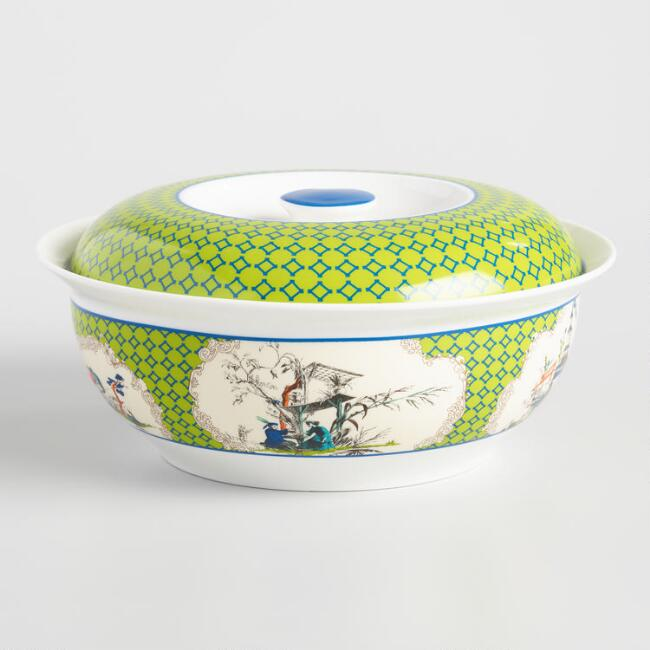 Green and White Porcelain Dynasty Lidded Serving Bowl