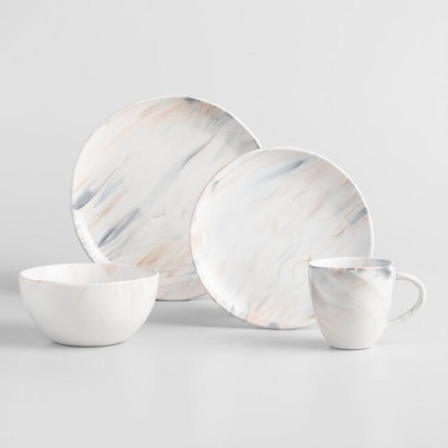 Gray And Tan Marble Dinnerware Collection