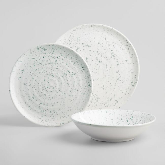 White and Gray Splatter Dinnerware Collection