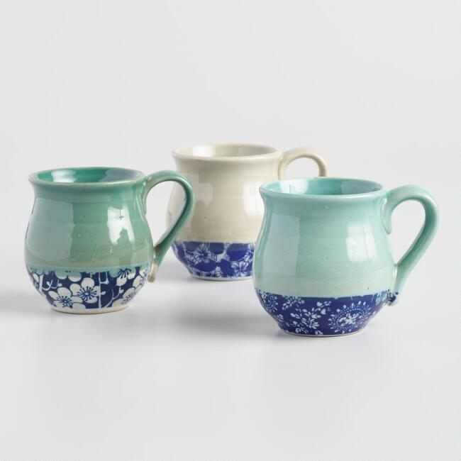 Multicolor Organic Patterned Belly Mugs Set Of 3
