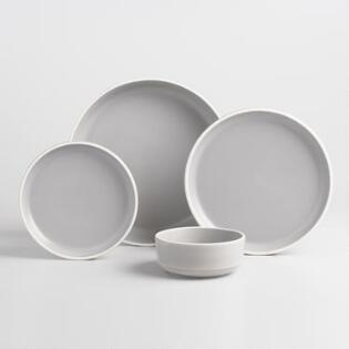 Gray And White Matte Brinley Dinnerware Collection