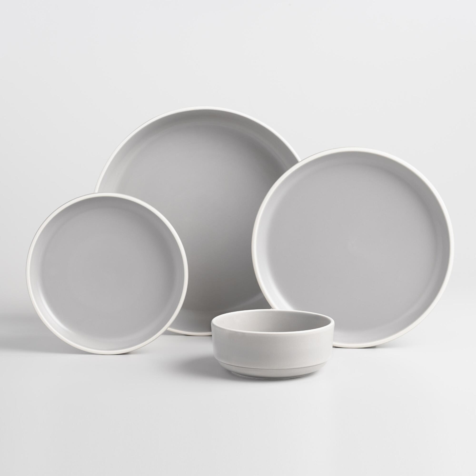 Gray And White Matte Brinley Dinnerware Collection by World Market