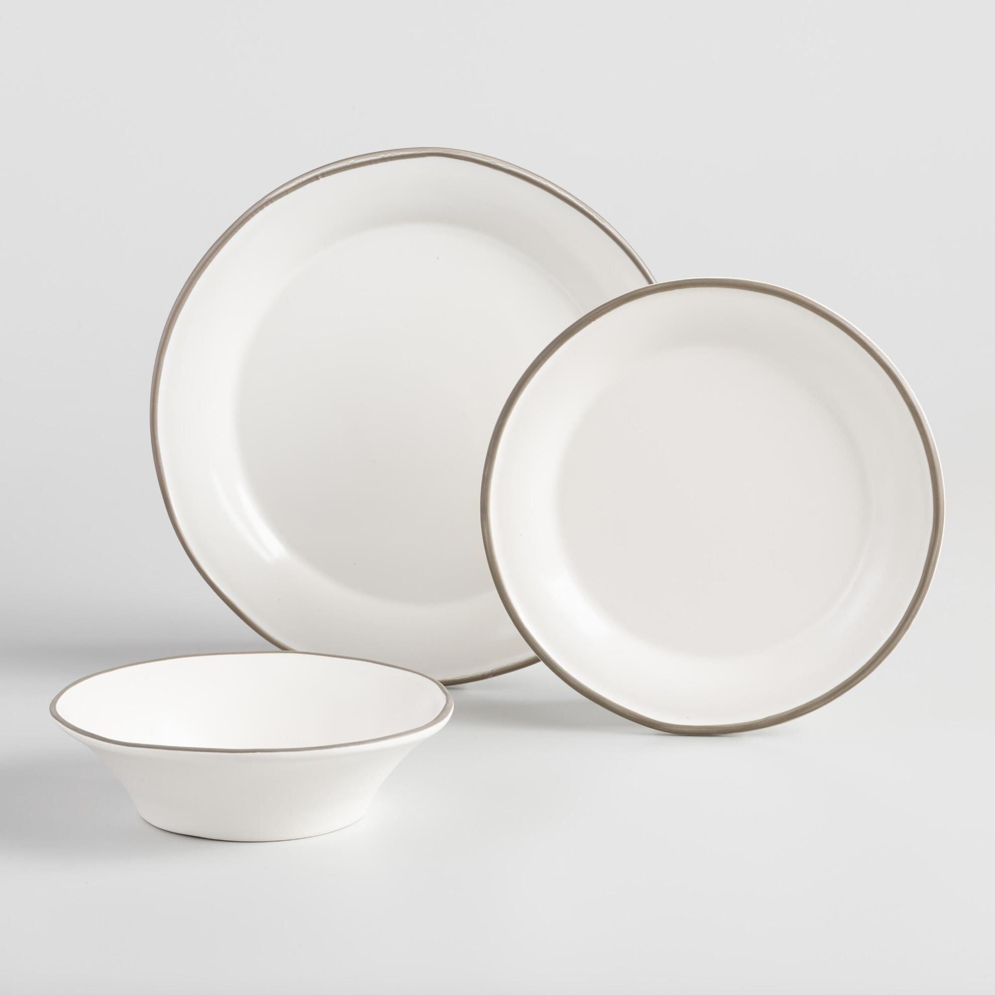 Rustic White And Gray Fatima Dinnerware Collection by World Market