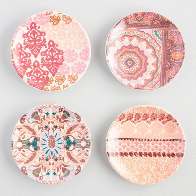 Round Bombay Appetizer Plates Set Of 4