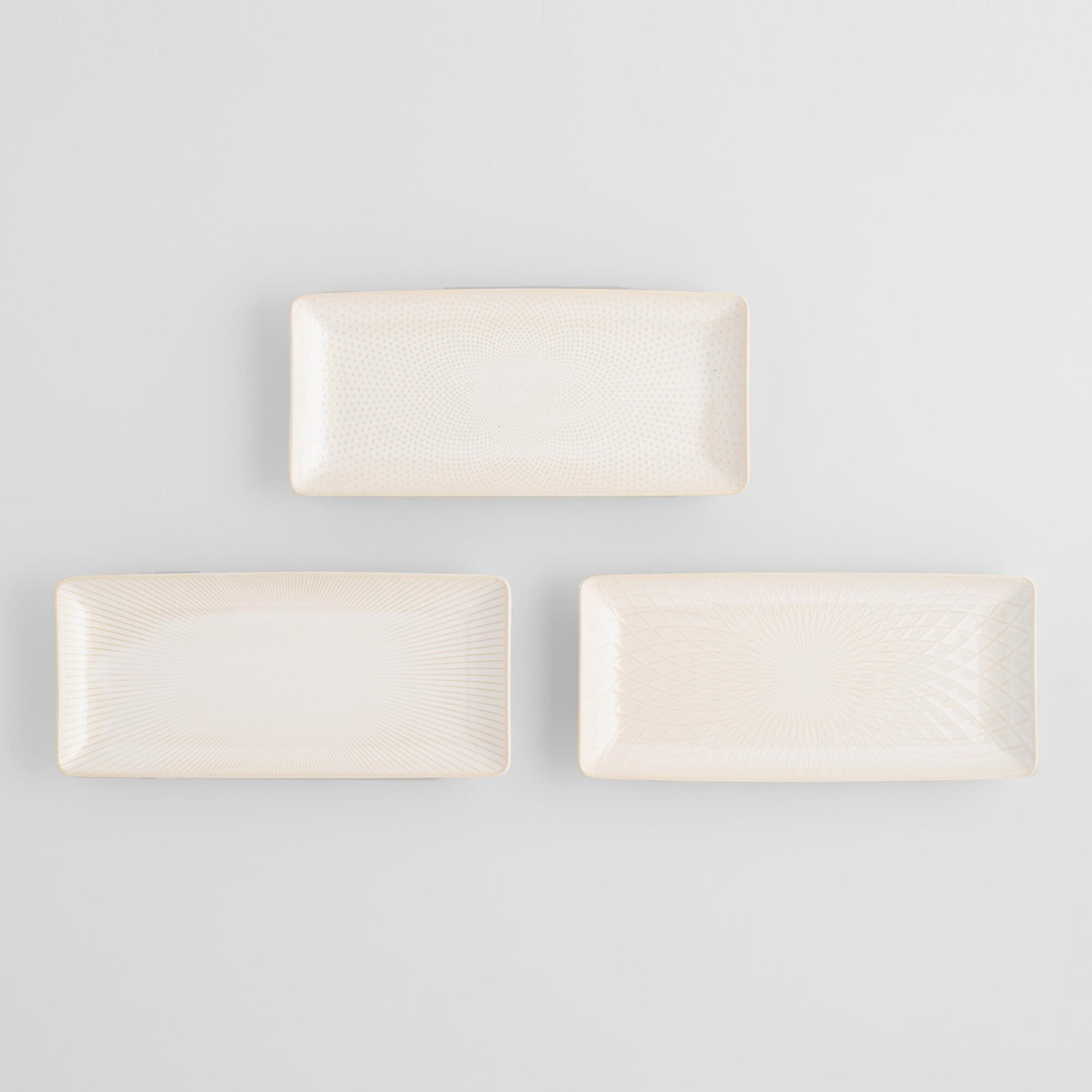 White Textured Stoneware Serving Platters Set Of 3 by World Market