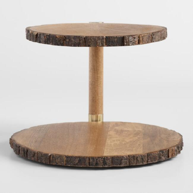 Mango Wood Bark 2 Tier Serving Stand