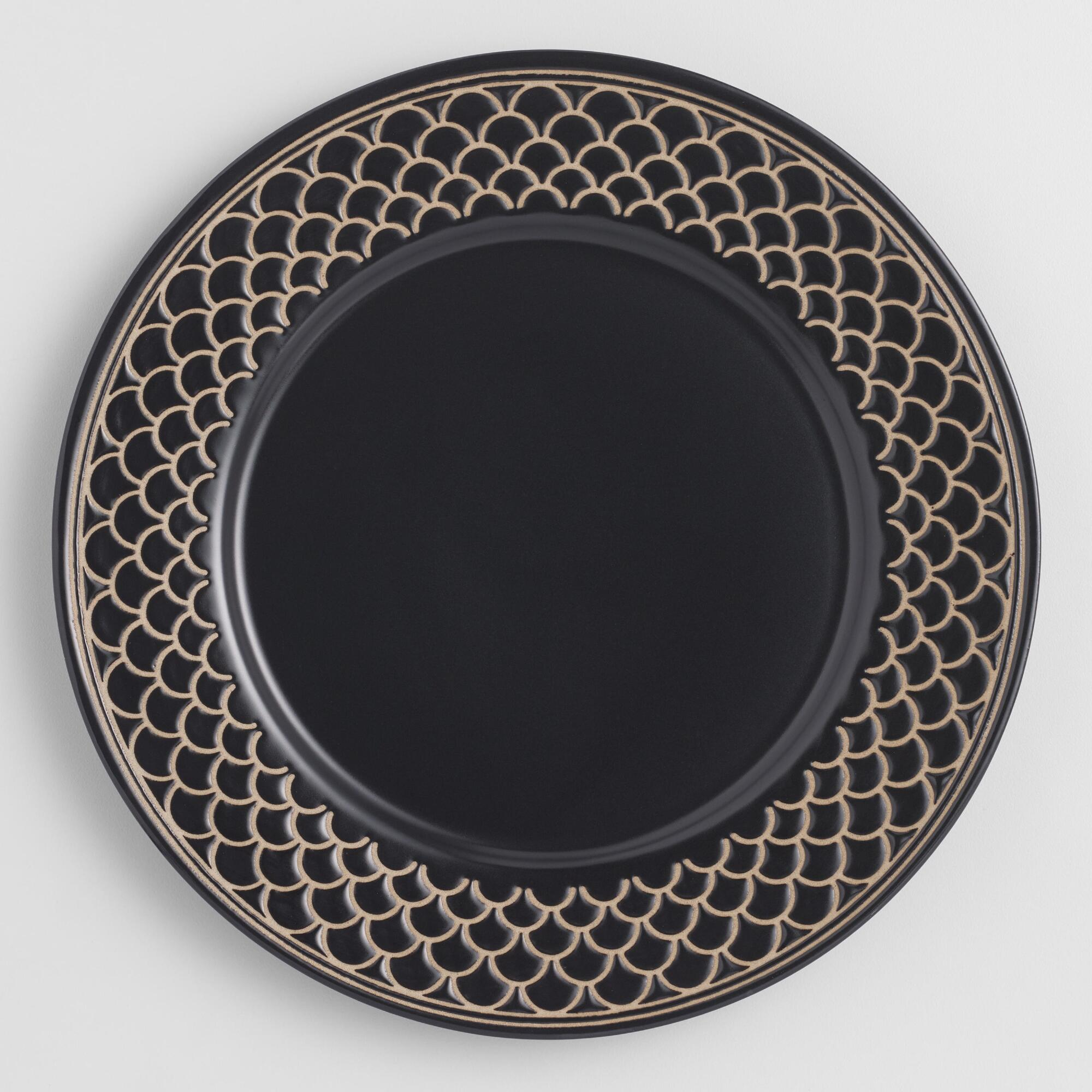 Black And White Textured Chloe Dinner Plates Set Of 4 by World Market
