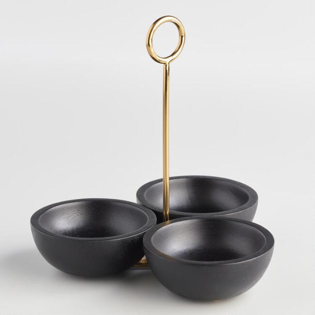 Black Mango Wood and Brass Beckett Condiment Server