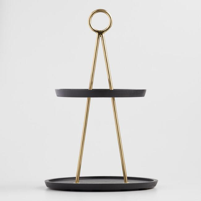 Black Mango Wood and Brass 2 Tier Beckett Serving Stand