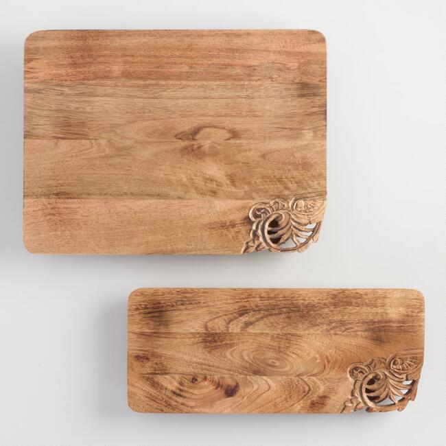 Carved Mango Wood Serving Tray with Feet
