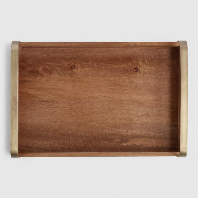 Wood and Antiqued Brass Hudson Serving Tray