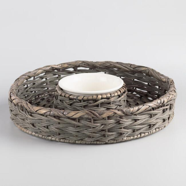 Gray Round Natural Fiber Chip And Dip Serving Tray