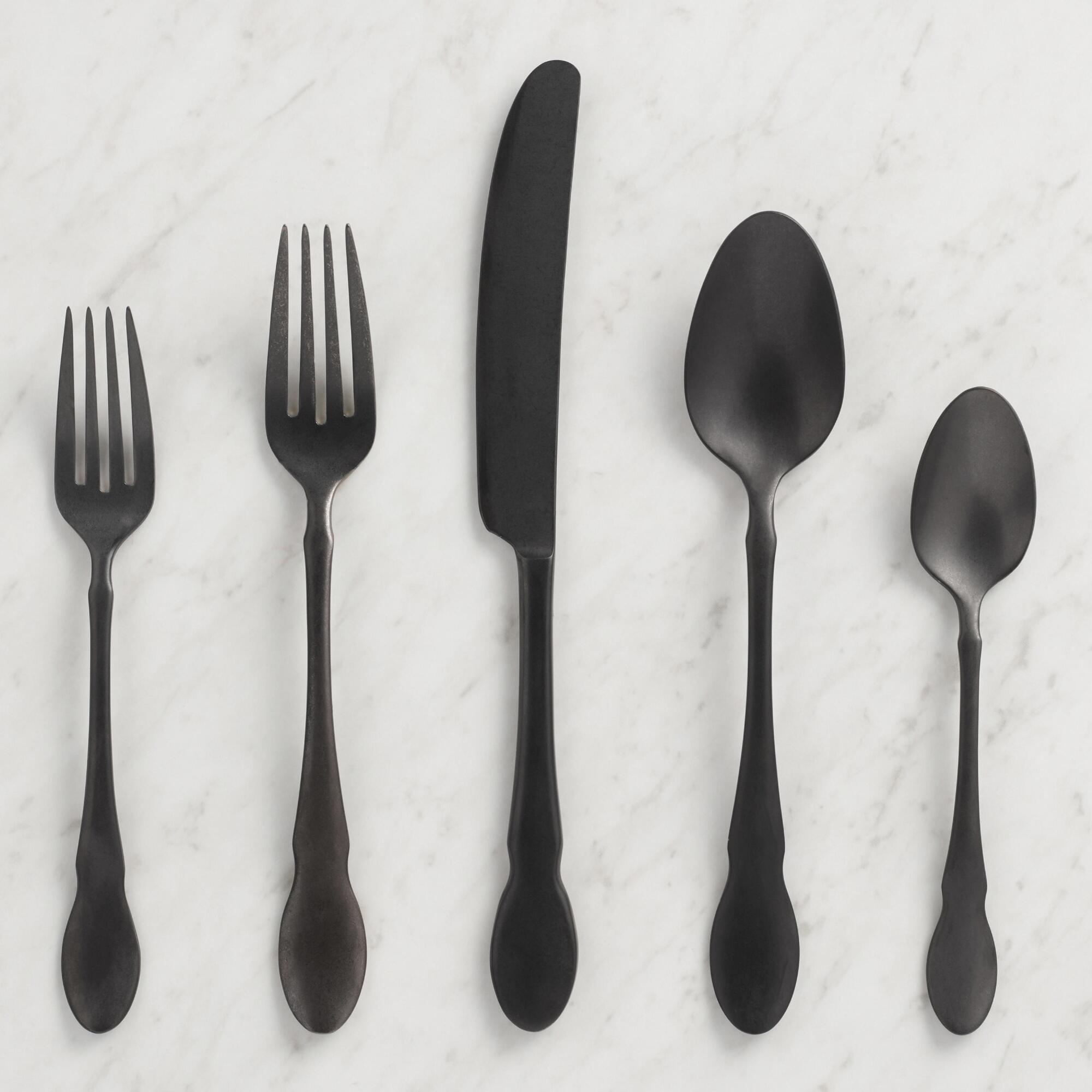 Matte Black Fiddlehead Jax Flatware Collection by World Market