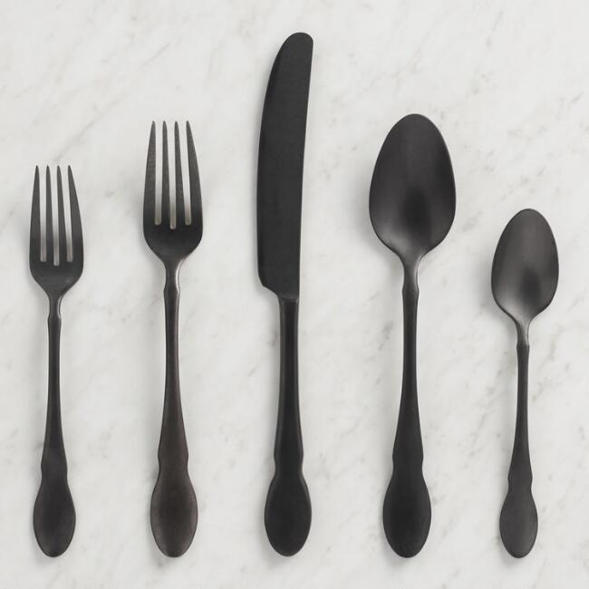 Matte Black Fiddlehead Jax Flatware Collection