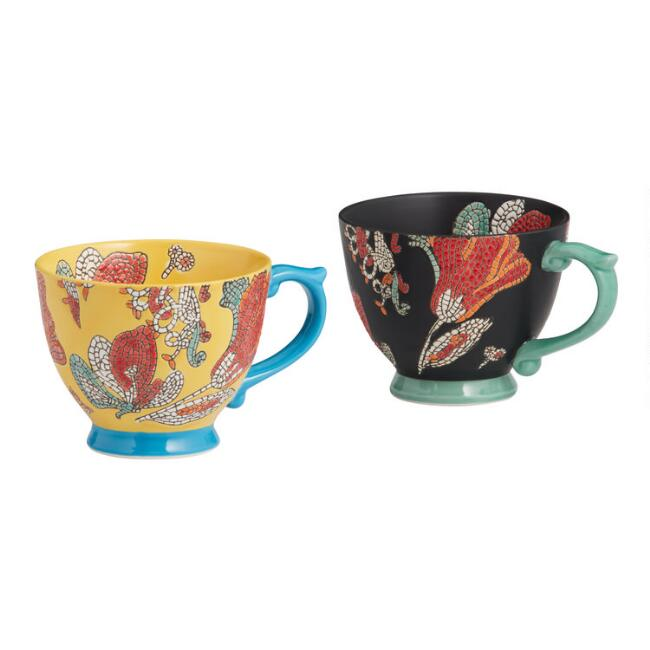 Hand Painted Mosaic Mugs Set Of 2