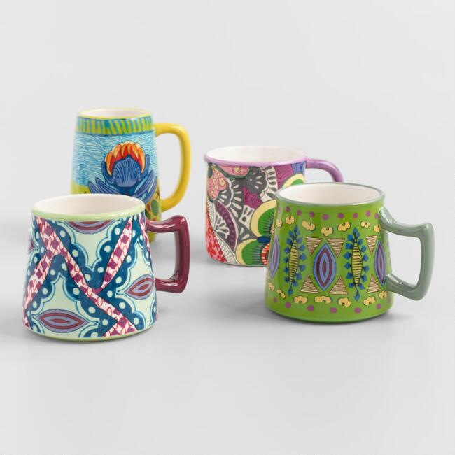 Multicolor Floral Janice Mugs Set Of 4