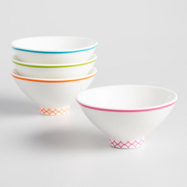 White Footed Porcelain Dynasty Rice Bowls Set Of 4