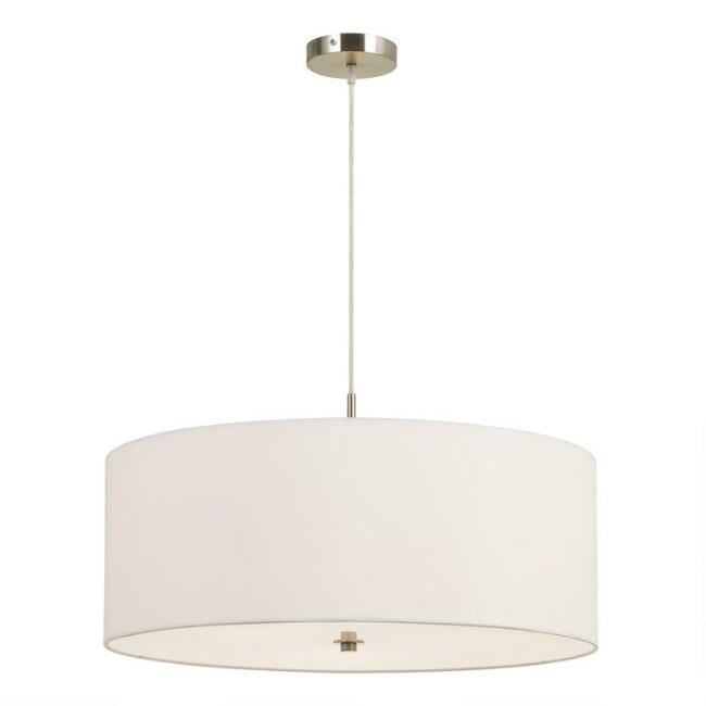 Large White Fabric Drum 3 Light Billie Pendant Lamp