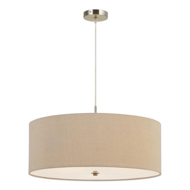 Large Natural Linen Drum 3 Light Billie Pendant Lamp