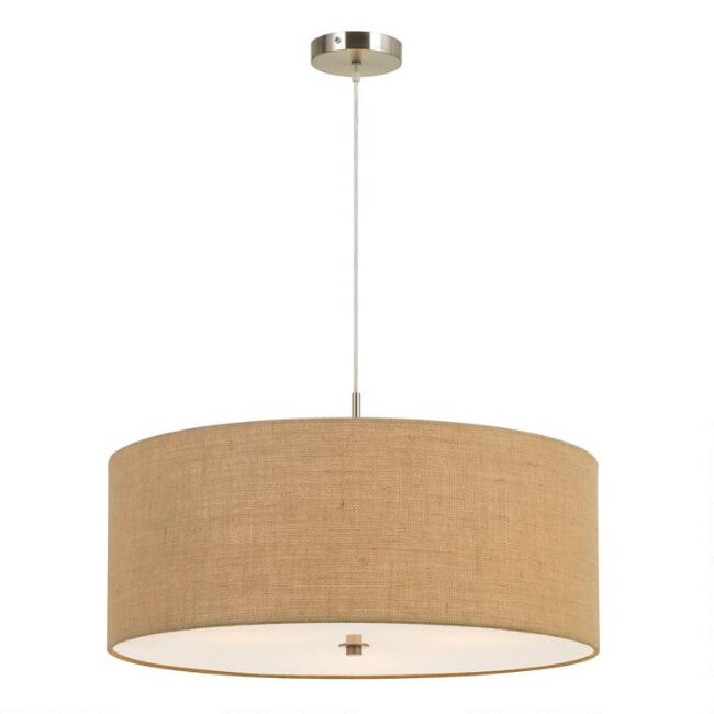 Large Natural Burlap Drum 3 Light Billie Pendant Lamp