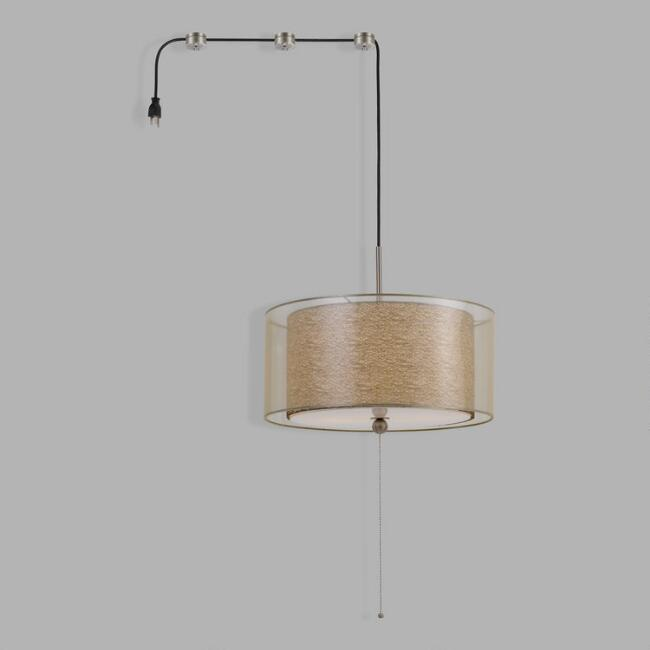 Rattan Screen Swag Plug In Billie 2 Light Pendant Lamp
