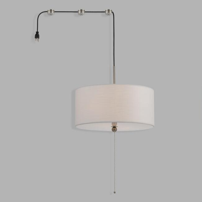 Off White Linen Swag Plug In Billie 2 Light Pendant Lamp
