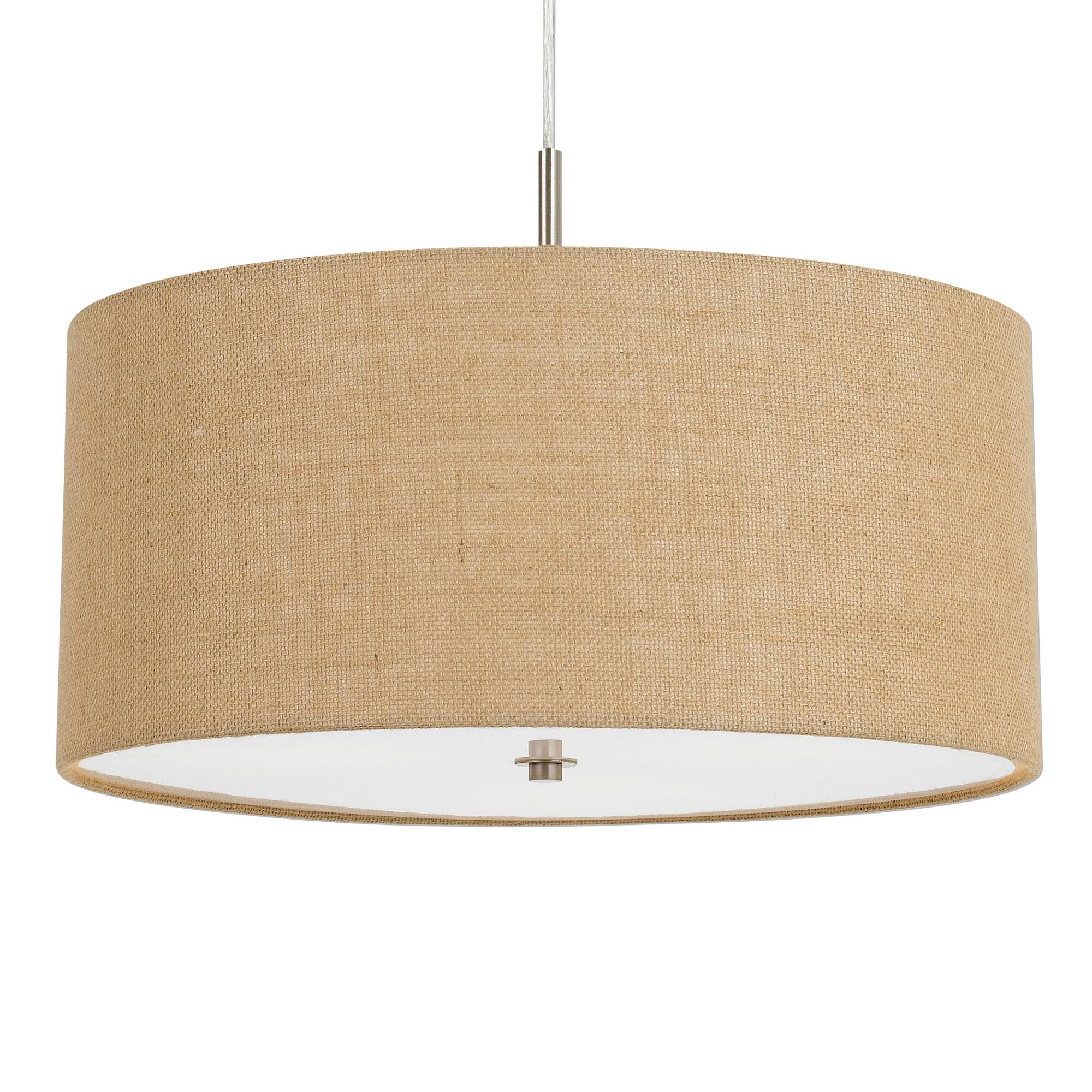 Small Natural Burlap Drum 3 Light Billie Pendant Lamp by World Market