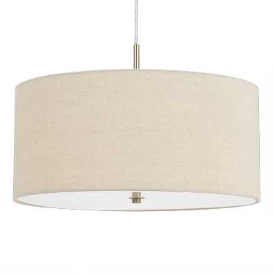 Small Natural Linen Drum 3 Light Billie Pendant Lamp