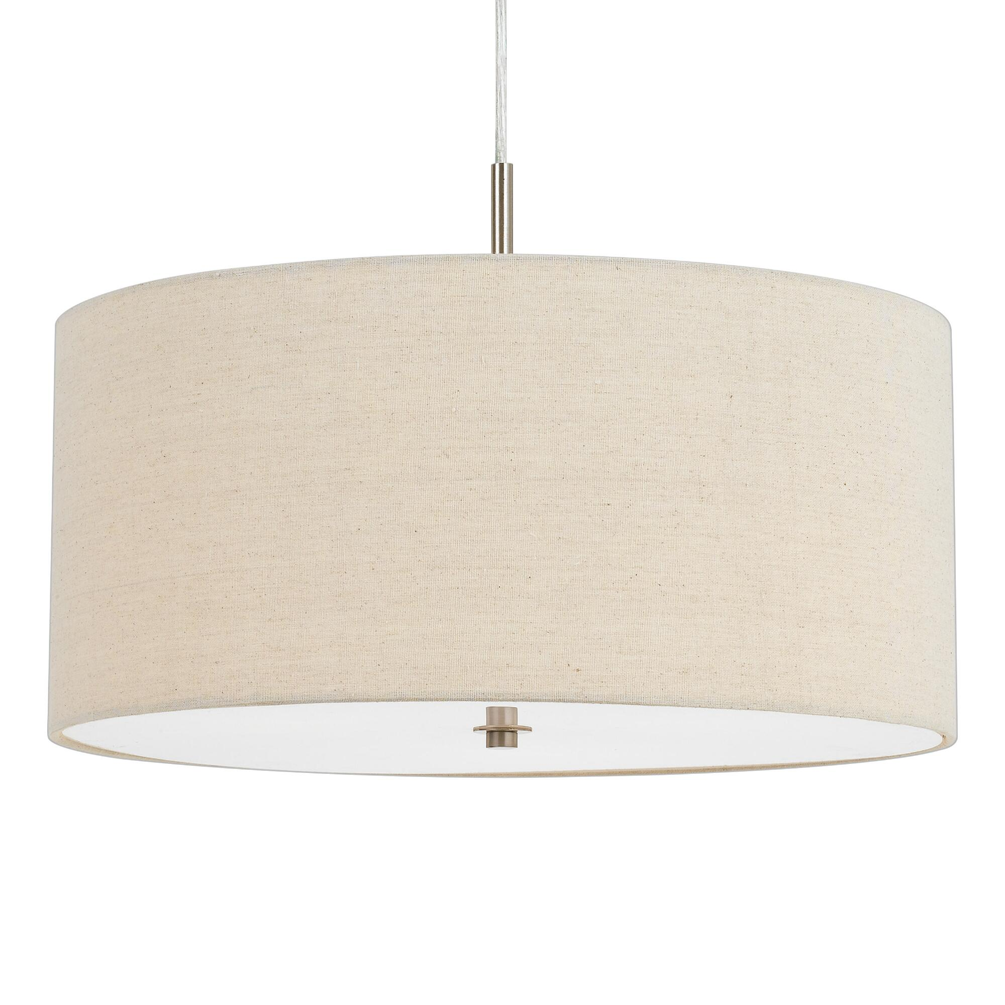 Small Natural Linen Drum 3 Light Billie Pendant Lamp by World Market