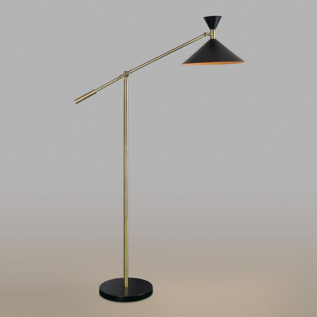 Antique Brass Mid Century Adjustable Melvin Task Floor Lamp