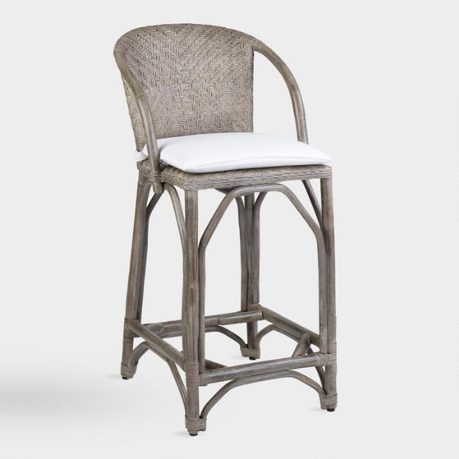 Gray Rattan Zelma Barstool with Cushion