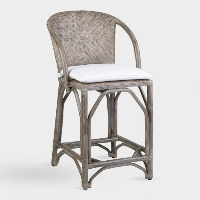 Gray Rattan Zelma Counter Stool with Cushion