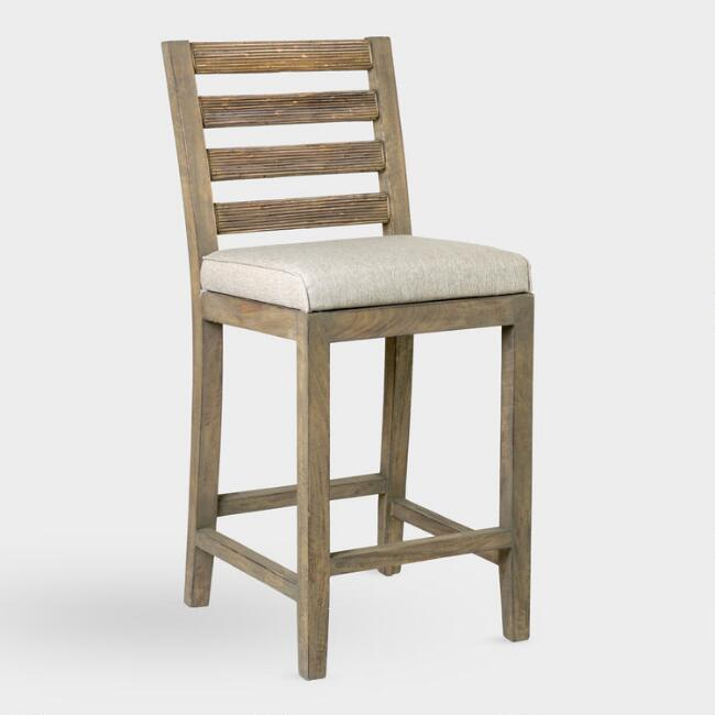 Natural Wood and Rattan Dominic Upholstered Barstool