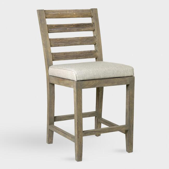Natural Wood and Rattan Dominic Upholstered Counter Stool