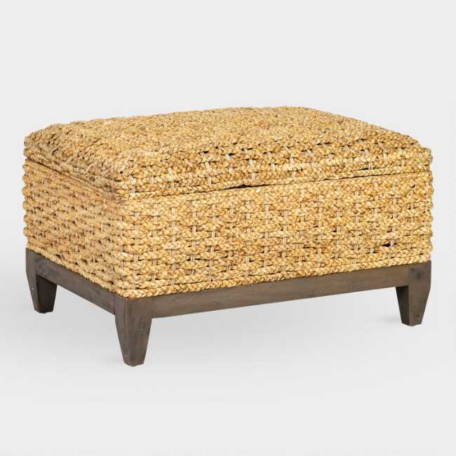 Surprising Natural Abaca And Wood Odette Storage Ottoman Andrewgaddart Wooden Chair Designs For Living Room Andrewgaddartcom