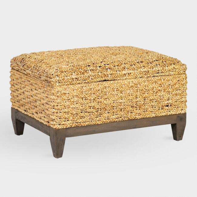 Natural Abaca and Wood Odette Storage Ottoman