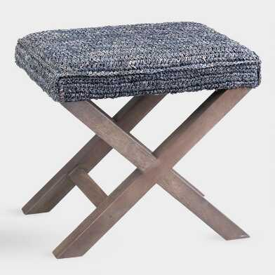 Gray Raffia and Wood Dalilah Accent Stool