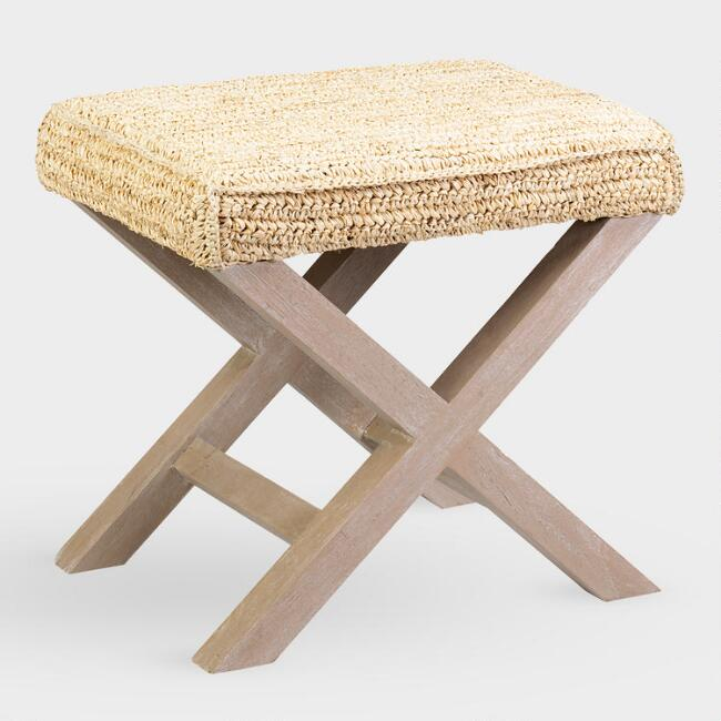 Natural Raffia and Wood Dalilah Accent Stool